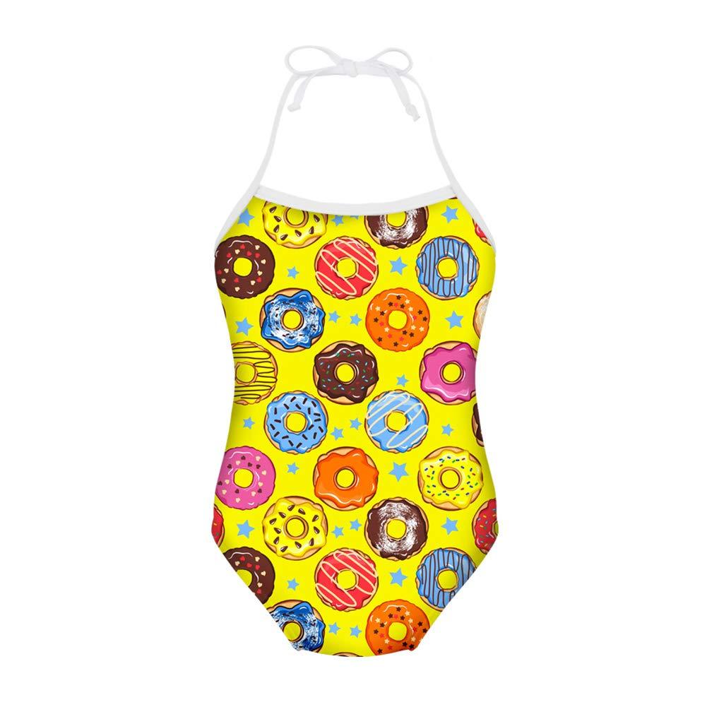 FUIBENG Sweet Doughnut Pattern Girl One Piece Swimsuit Bathing Suit Kid Bikini