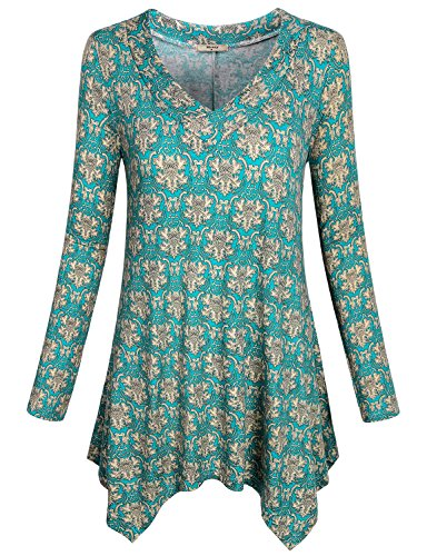 Swing Tunics for Women, Miusey Ladies Floral Shirt Casual Wear Mixed Print Flow Hanky Hem Gorgeous Flattering Nice Fancy Ruche Cozy Workout Cross V Neck Fall Dressy Blouses Top Green XL (Mixed V-neck Top Prints)
