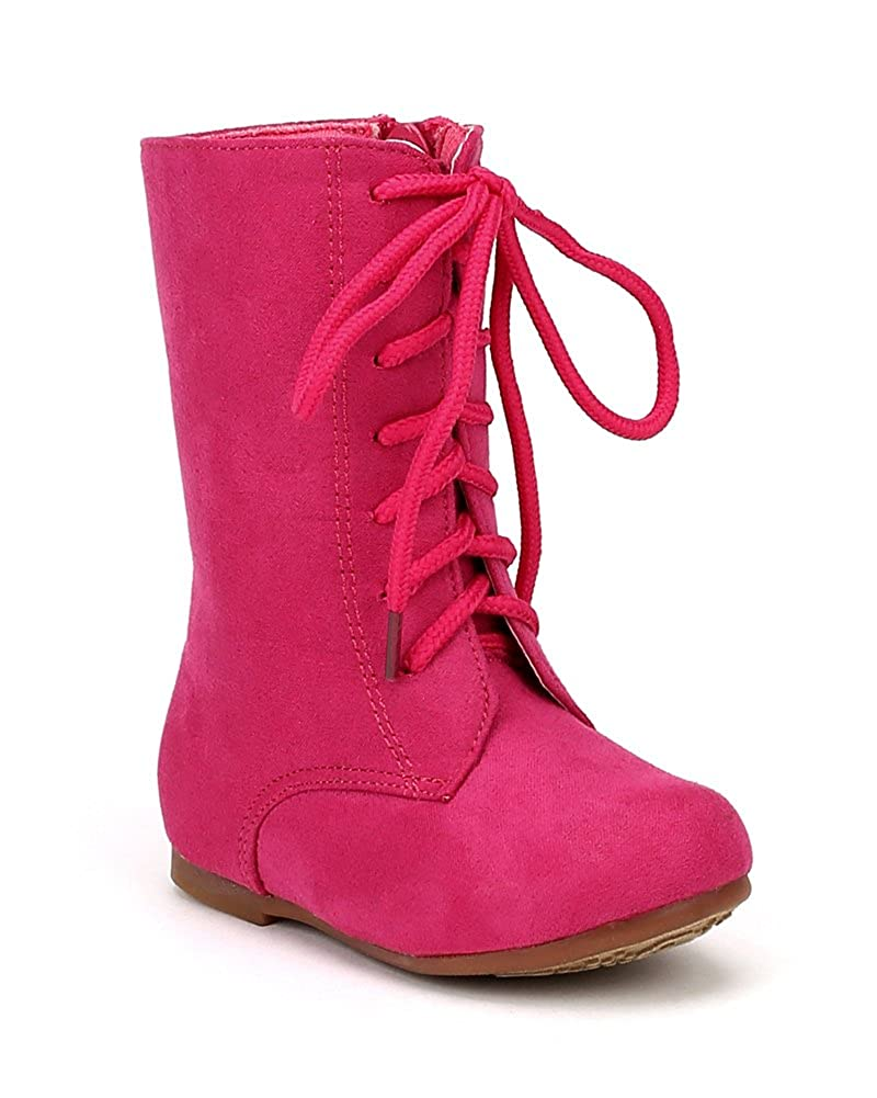 JELLY BEANS Echoma Suede Round Toe Lace Combat Riding Boot AE98 Toddler//Little Girl Fuchsia