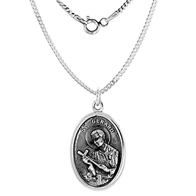 Amazon sterling silver st gerard medal necklace oval 16 inch sterling silver st gerard medal necklace oval 16 inch 18mm chain aloadofball Image collections