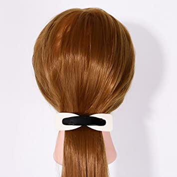 Black and White Spring Fastening Barrette Grips Ponytail Hair Clips Clamp