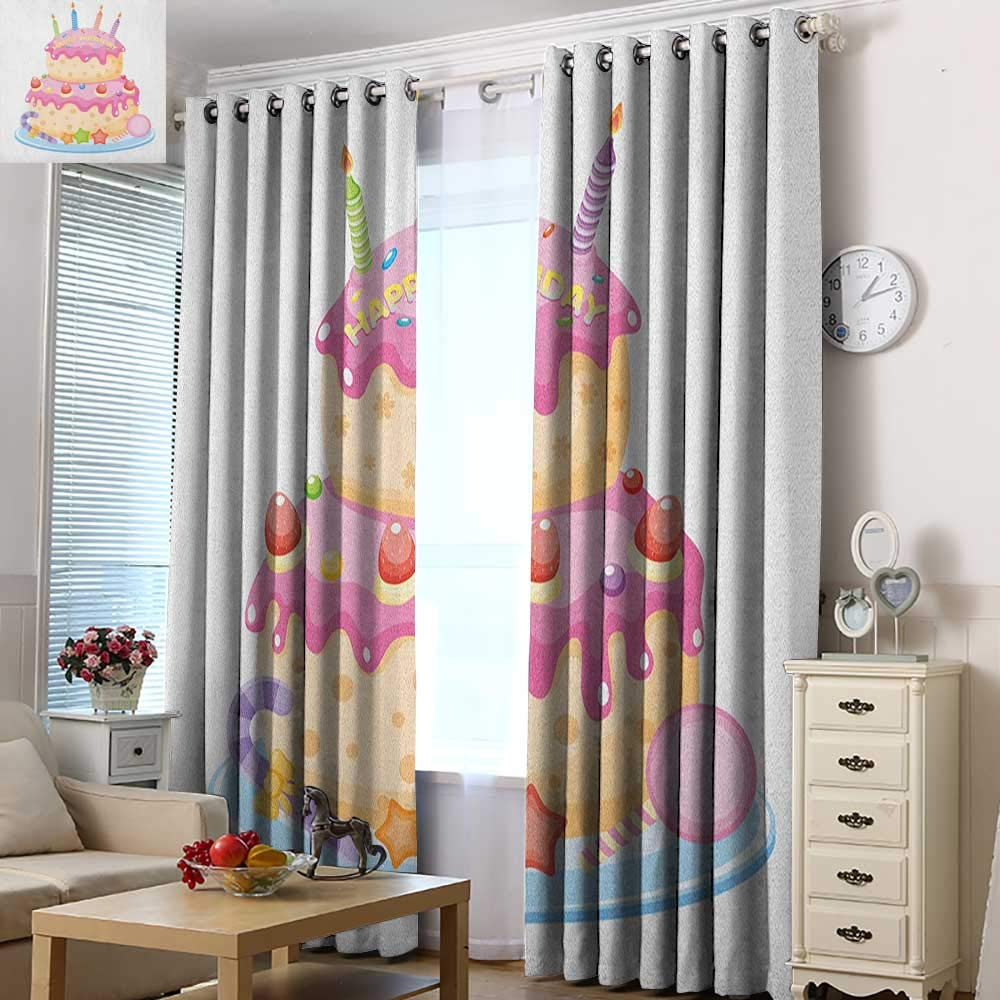 Acelik Indoor/Outdoor Curtains Kids Birthday Pastel Colored Birthday Party Cake with Candles and Candies Celebration Image Great for Living Rooms & Bedrooms 72'' W x 108'' L Pale Pink