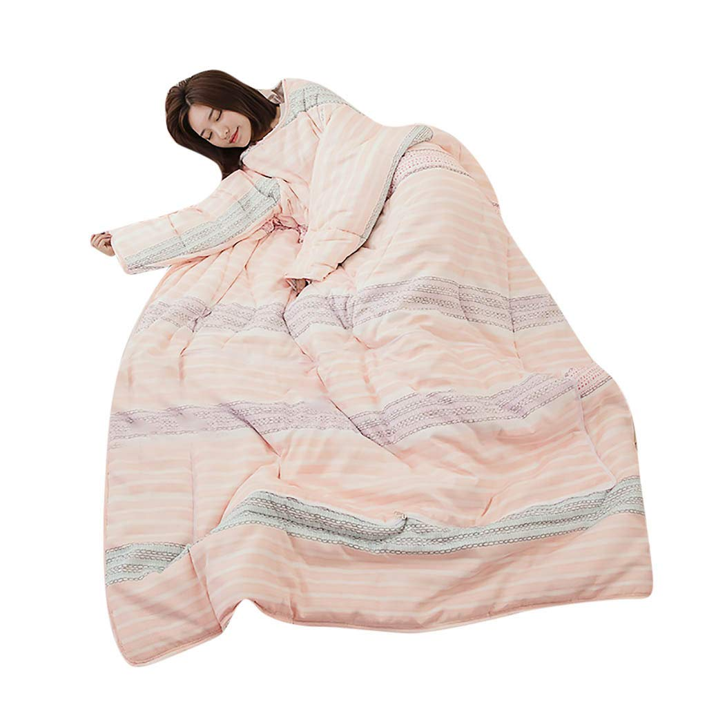 Hoshell_Home Winter Lazy Quilt with Sleeves Quilt Warm Thickened Quilt Blanket 120x150cm (F)