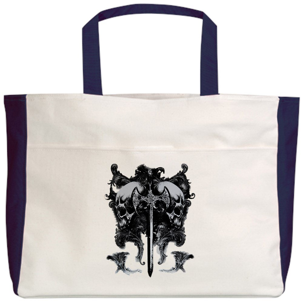 Royal Lion Beach Tote (2-Sided) Dragon Sword and Skulls Medieval - Navy