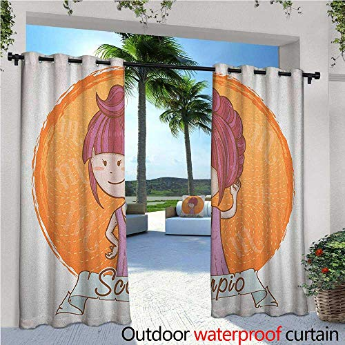 familytaste Zodiac Scorpio Fashions Drape Cartoon Style Illustration of a Girl with a Scorpion Tail Hairdo for Kids Outdoor Curtain Waterproof Rustproof Grommet Drape W84 x L96 Multicolor for $<!--$71.93-->