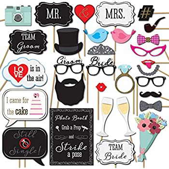 Wedding Photo Booth Props with Strike a Pose Sign - 31 Printed Pieces with Wooden Sticks