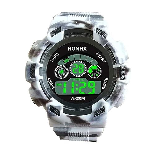 XGUMAOI Mens Digital Luminous LED Analog Quartz Watches Alarm Date Sports Wrist Watch (Silver)