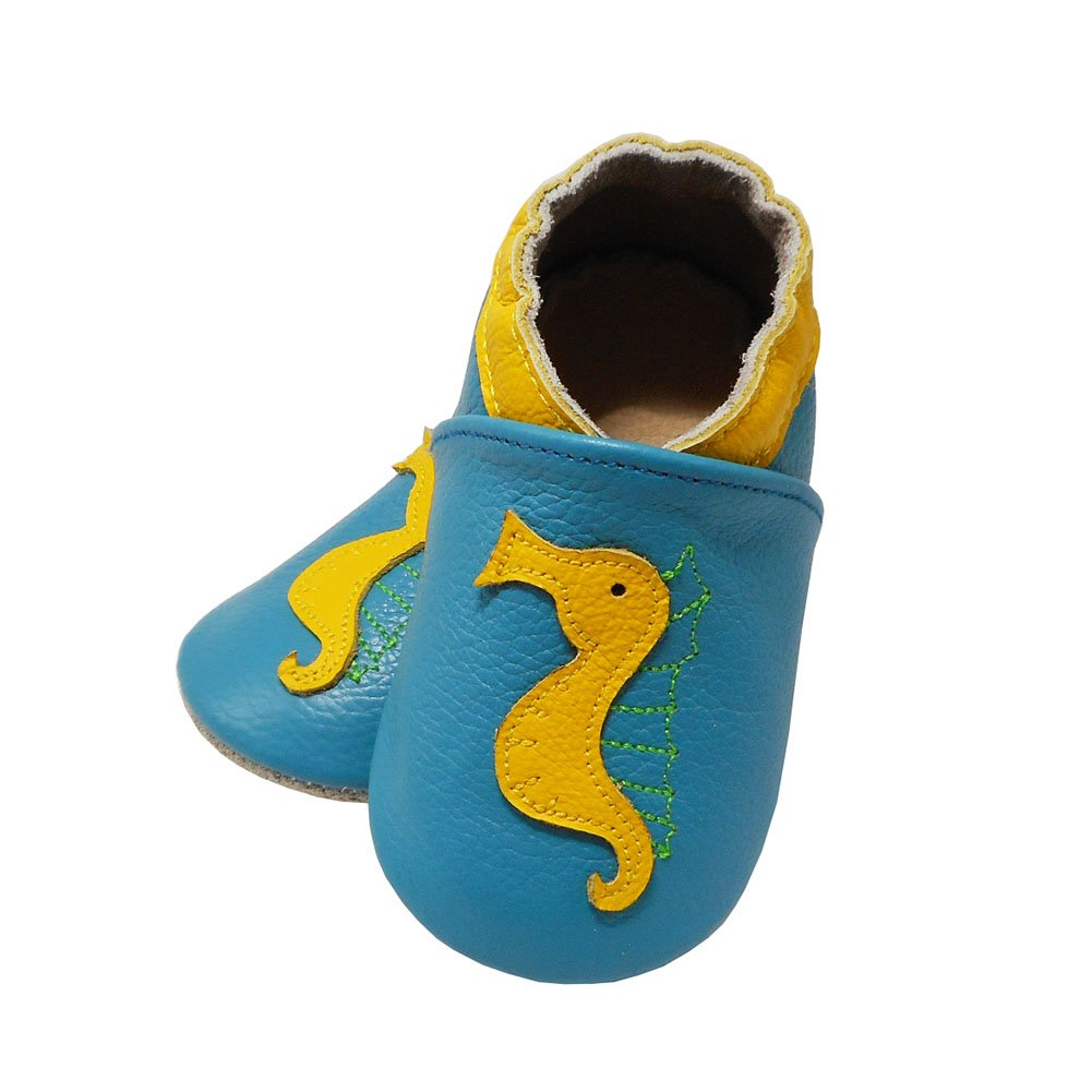 Yalion Baby Soft Sole Leather Shoes Infant Toddler Moccasin Prewalker Crib Shoes Hippokampus Lake Blue
