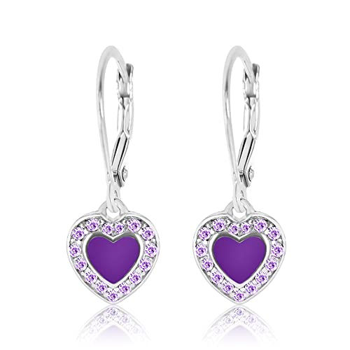 73c404205a075 Premium 8MM Violet Crystal with Purple Enamel Heart Leverback Kids Baby  Girl Teen Earrings With Swarovski Elements By Chanteur – 925 Sterling,  White ...
