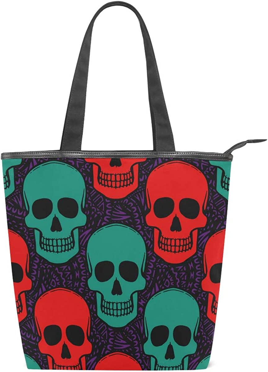 11/×4/×13.6 in Red Green Art Skull Womens Large Lightweight Tote Bag Shoulder Bag for Gym Hiking Picnic Travel Beach Shopping Tote Bags