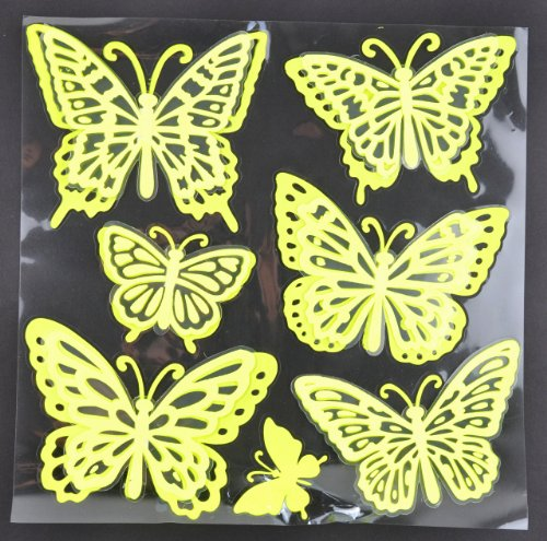 Touch of Nature 4-Piece 3D Glow-in-The-Dark Stickers Butterfly Assortment, Fluorescent Yellow