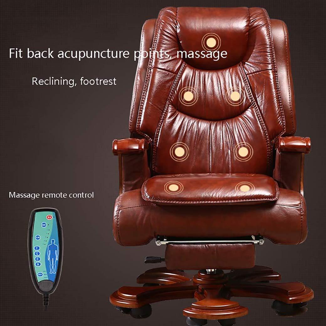 Kontorsstol DABANYI läder vildmark med massagefunktion, business massivt trä svängbar stol, chef stol med utökad legstöd och vilstol (färg: svart) Svart
