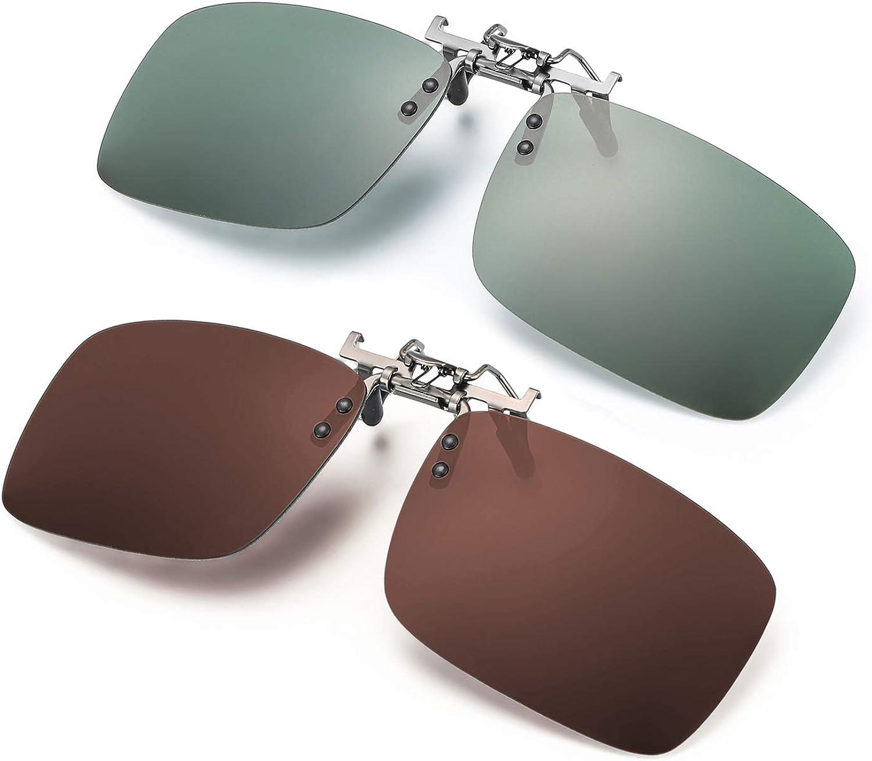ELIVWR 2 Pares Gafa de Sol Polarizada con Clip de - Gafas Conducción/Golf/y Mucho Más Deportes Exteriores,100% de Protección Contra Los Rayos UVA/UVB Dañi