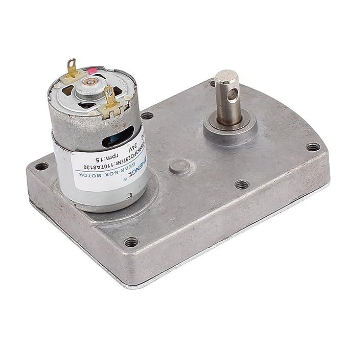 EbuyChX DC24V 15RPM High Torque Electric DC Worm Gear Box Motor Speed Reducer - - Amazon.com