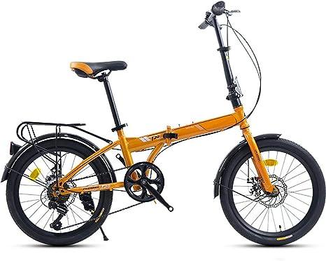 Plegable Bicicleta 20 Pulgadas Neumáticos Mujer,Plegable Bicicleta De Carretera con Frenos De Disco Manillar Recto,Velocidad Variable Bicicleta Adultos Naranja 20in: Amazon.es: Deportes y aire libre