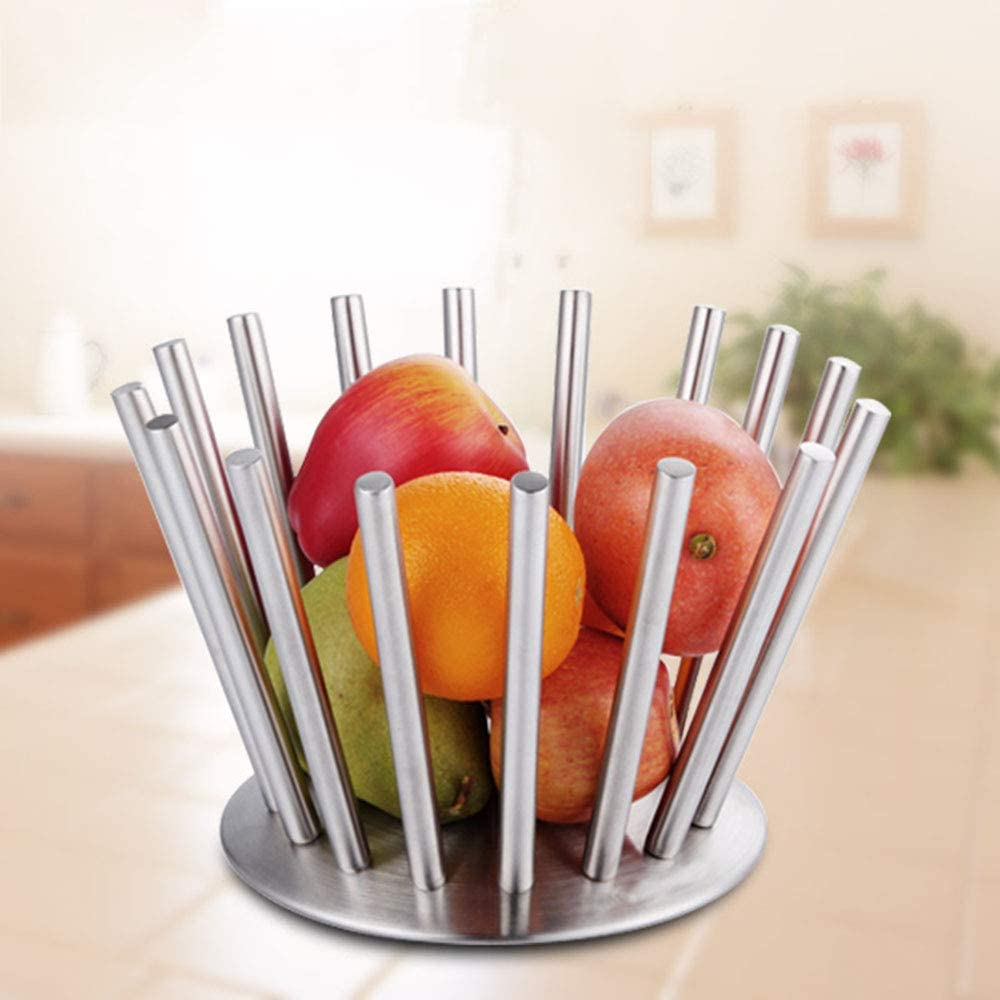 Reeamy-Home Fruit Basket Creative Stainless Steel Rotating Fruit Bowl//Fruit Basket//Fruit Rack Fruit Basket Stand Fruit Bowl Size : S
