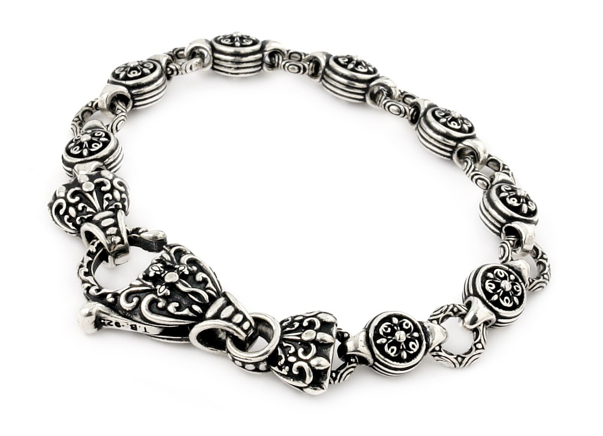 Twisted Blade 925 Sterling Silver Intricate Round Link Bracelet 8''