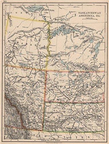 Amazoncom CANADA PRAIRIES Alberta Saskatchewan Assiniboia - Old map of canada
