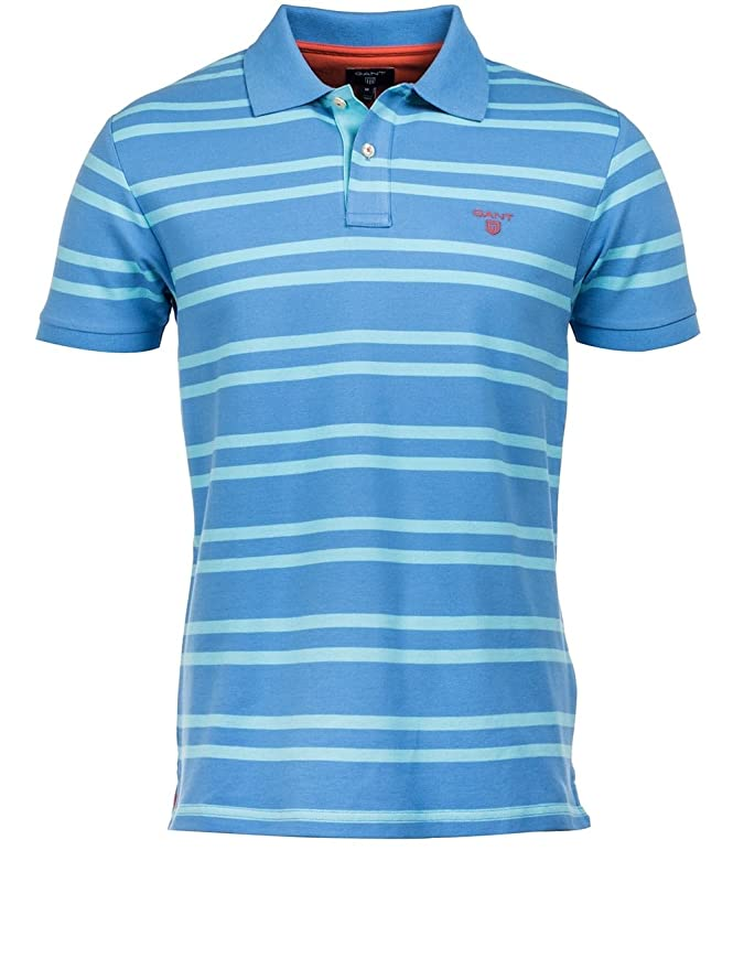 Gant Pacific Blue Striped Polo Shirt Small: Amazon.es: Ropa y ...