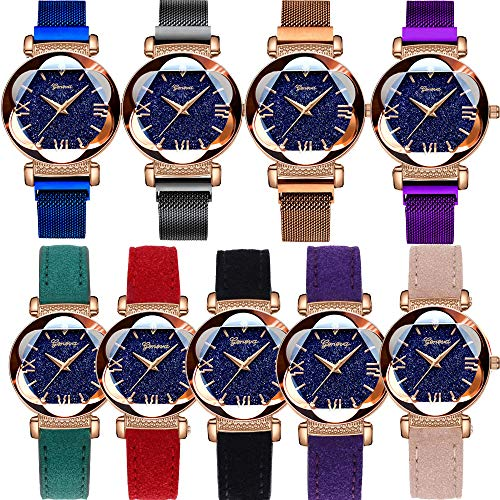 Yunanwa 9 Pack Women Men Watches 5pcs Leather 4pcs Magnetic Mesh Brand Wrist Watches Wholesale (Style B Magnetic Mesh Band)