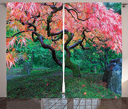 Ambesonne Japanese Curtains, Aged Red Leaf Maple Moss Garden Scenery in Autumn Grass Relaxation in Nature, Living Room Bedroom Window Drapes 2 Panel Set, 108 W X 84 L Inches, Green