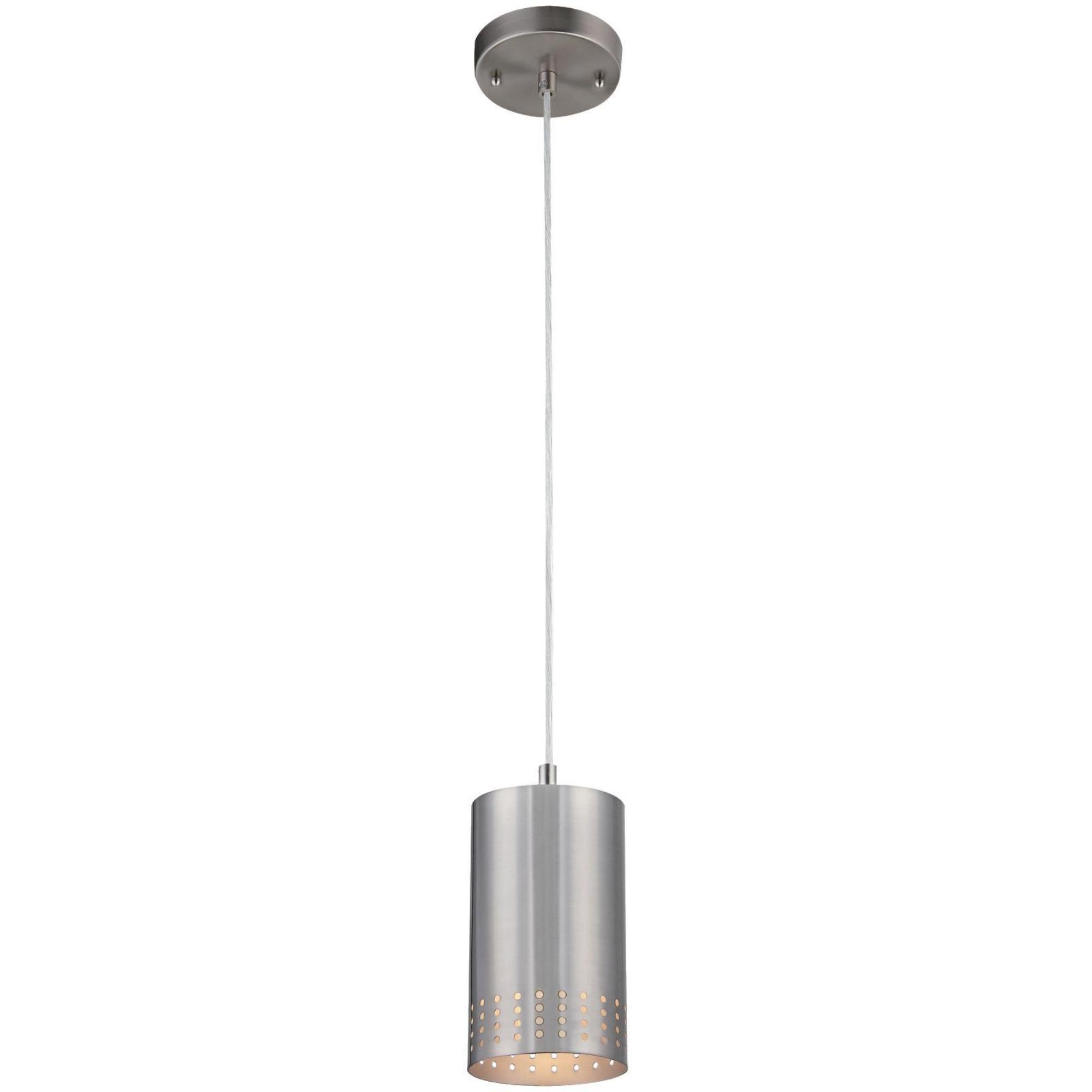 Westinghouse 6101200 Contemporary One-Light Adjustable Mini Pendant with Perforated Cylindrical Metal Shade, Brushed Nickel Finish