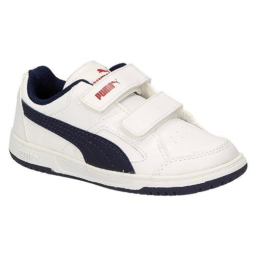 Puma Rebound v2 Lo Kids - Zapatillas de Material Sintético Para Niño Blanco White-Peacoat-High Risk Red, Color Blanco, Talla 21: Amazon.es: Zapatos y ...