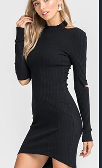Lush Clothing Black Long Sleeve Dress With Cut Out Elbows Open
