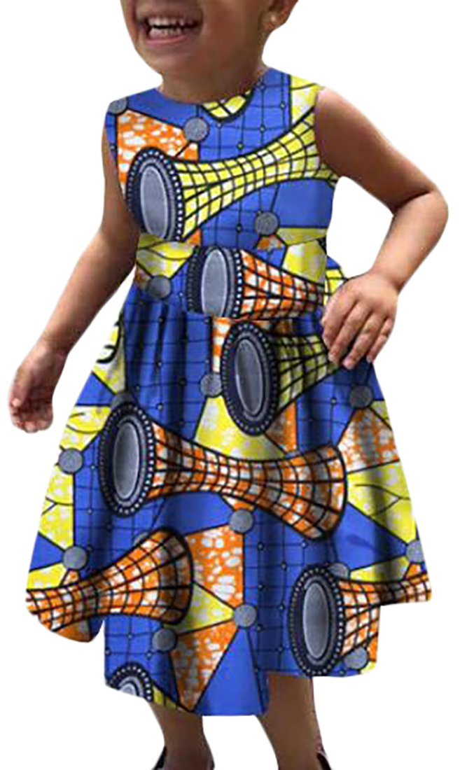 Alion Little Girls Fashion Cotton Casual African Print Dress 8 4T