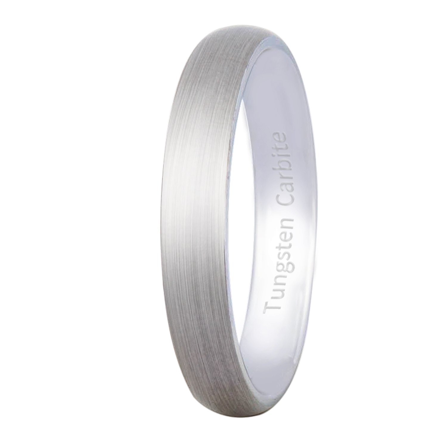 Mens Womens Silver 4mm Tungsten Carbide Ring Cool Wedding Engagement Band Matte Finish Domed Comfort Fit Size 10.5