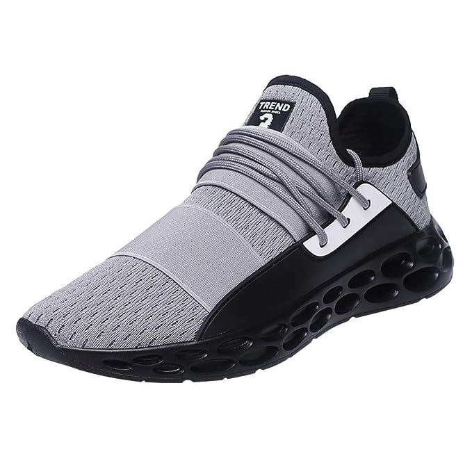 JiaMeng Zapatillas Running para Hombre Aire Libre y Deporte Transpirables Casual Zapatillas de Tenis Casuales, Ligeras y Transpirables con Cordones ...