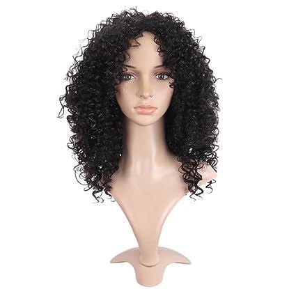 JIAFA Kinky Curly Rizado Corto Peluca Medio De Despedida por Negro Mujer Calor Resistente Fibra Sintético