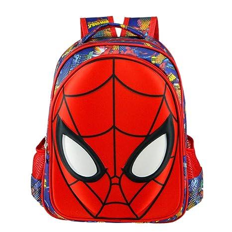 HLH Mochila Infantil de Dibujos Animados en 3D Spider-Man Kindergarten 1-2 Grado