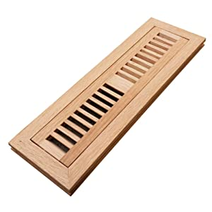 Homewell Red Oak Wood Floor Register Vent Cover, Flush Mount Vent, 2X12 Inch, Unfinished