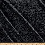TELIO Amber Stretch Velvet Damask Fabric by the Yard, Black