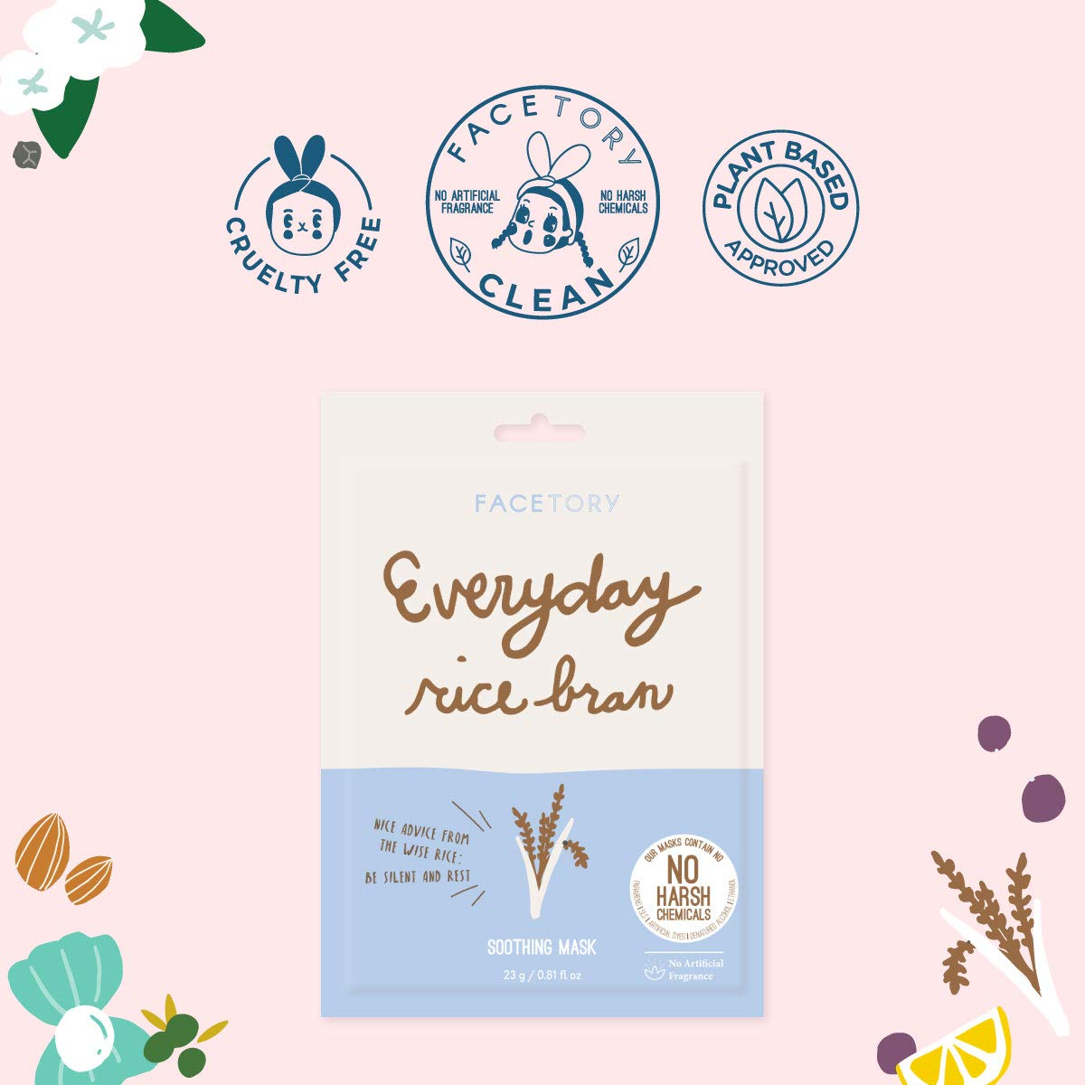 Everyday Rice Bran Soothing Mask With No Harsh Chemicals - Hydrating, Rejuvenating, and Clarifying (Pack of 5)