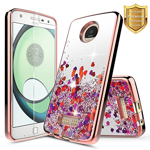 Moto Z Force Case with [Tempered Glass Screen Protector], NageBee Quicksand Liquid Floating Glitter Flowing Sparkle Bling Luxury Clear Case for Motorola Moto Z Force Droid XT1650 (2016) - Rose Gold