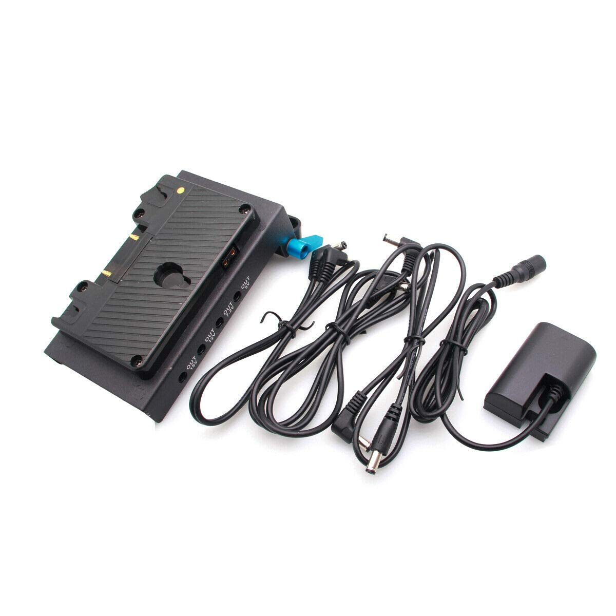 Runshuangyu Anton Bauer Gold Mount Power Supply Station with LP-E6 Dummy Battery Pack & 15mm Rod Clamp for Canon EOS 5D Mark II III IV, 7D, 6D, 60D,70D DSLR Camera