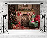 HMT 10X6.5ft Brick Christmas Backdrop for Photography Bear Red Brick Background Party Photo Booth Props