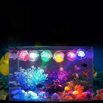 QNMM Mini Spotlight Colorido Tanque de Peces Bajo el Agua Reflector LED Marina Noche/Luz de Buceo Lámpara de Acuario Decoración Accesorios,Orange: ...