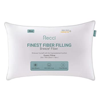 Recci Breeze Adjustable Down Alternative Hypoallergenic Pillow