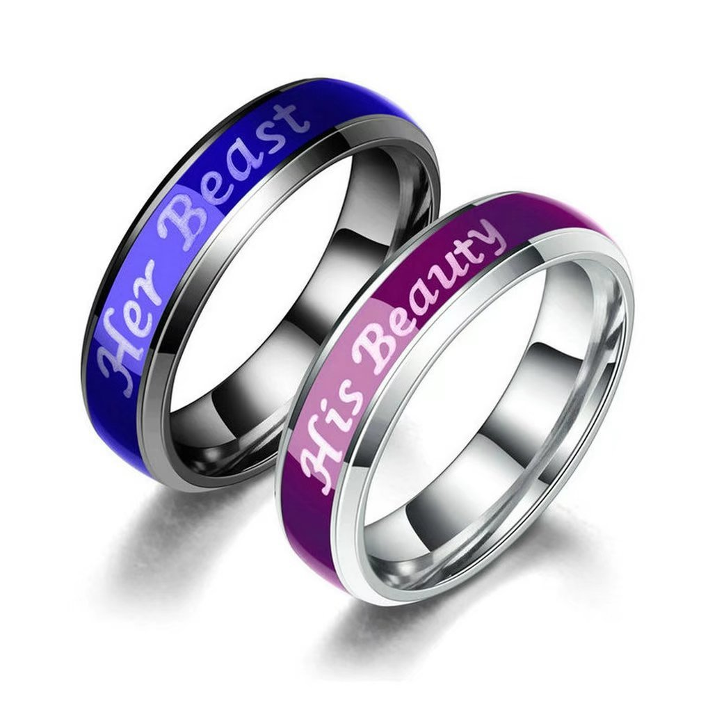 Amazon Titanium Mood Ring Temperature Emotion Feeling Change Color Rings Her Beast His Beaty Engagement Promise Couple Jewelry: Mood Ring Wedding Ring At Reisefeber.org