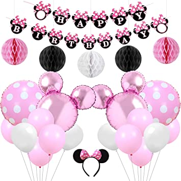 KREATWOW Pink Minnie Mouse Party Supplies Decorations Minnie Mouse Happy Birthday Banner Headband for Girls Birthday