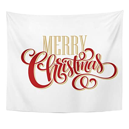 Merry Christmas Lettering.Amazon Com Emvency Wall Tapestry Text Merry Christmas