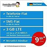 DeutschlandSIM LTE 2000 National [SIM, Micro-SIM und Nano-SIM] monatlich kündbar (3 GB LTE mit max. 21,6 MBit/s inkl. deaktivierbarer Datenautomatik, Telefonie-Flat, SMS-Flat, 9,99 Euro/Monat)