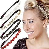 Hipsy 5pk Women's Adjustable NO SLIP Wave Bling Glitter Headband Multi Gift Pack (Silver/Red/Black/Gold/White)