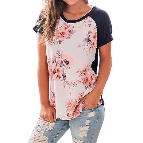 Blusa Mujer,riou Blusas Camisetas Polyester Ajustado Blusa Moda Patchwork Casual Elegantes Manga Corta Estampada Oficina Suelto Camiseta Tops Primavera ...