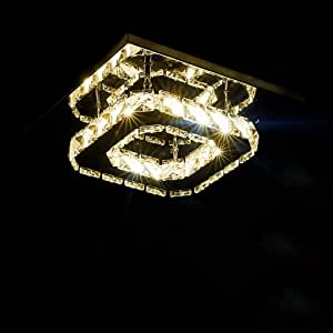 Ceiling Lighting LED Crystal Ceiling Light Double Stainless Steel Mirror High Brightness Living Room Aisle Decorative Ceiling Light 8W Lighting (Color : Warm Light)