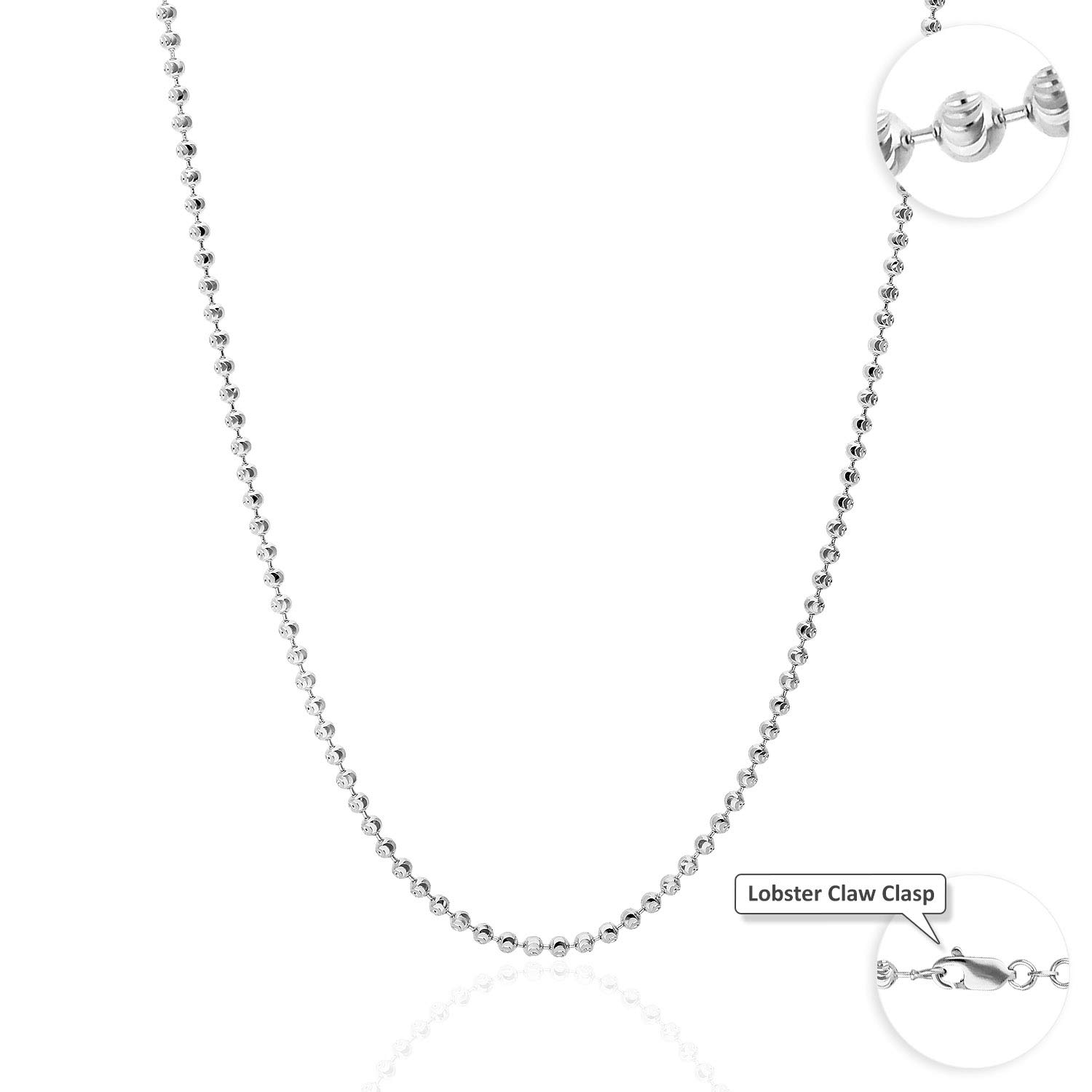 10K Solid White Gold 1.8mm-3.9mm Moon Cut Beads Dog Tag Chain Necklace 16''-30'', 3.4 24