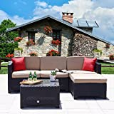 Cheap Cloud Mountain 5 PC Patio PE Rattan Wicker Furniture Set Outdoor Backyard Sectional Conversation Furniture Set Outdoor Patio Garden Sofa Set, Black Rattan with Khaki Cushions